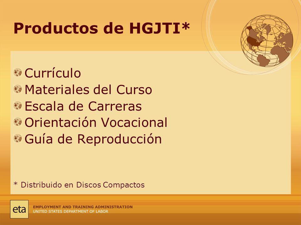 Productos de HGJTI* Currículo Materiales del Curso Escala de Carreras Orientación Vocacional Guía de Reproducción * Distribuido en Discos Compactos