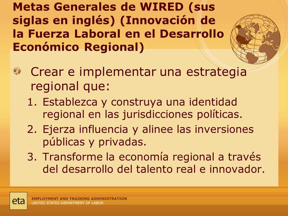 Metas Generales de WIRED (sus siglas en inglés) (Innovación de la Fuerza Laboral en el Desarrollo Económico Regional) Crear e implementar una estrategia regional que: 1.Establezca y construya una identidad regional en las jurisdicciones políticas.