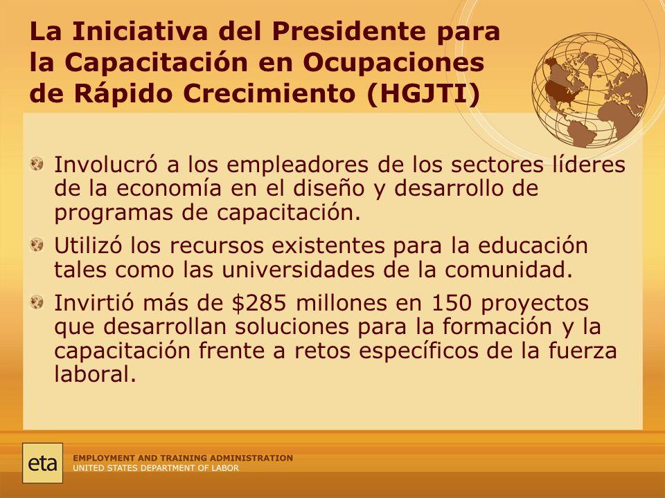 La Iniciativa del Presidente para la Capacitación en Ocupaciones de Rápido Crecimiento (HGJTI) Involucró a los empleadores de los sectores líderes de la economía en el diseño y desarrollo de programas de capacitación.