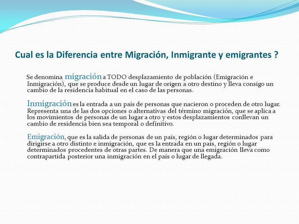 Cual es la Diferencia entre Migración, Inmigrante y emigrantes ? Se denomina migración a TODO desplazamiento de población (Emigración e Inmigración),
