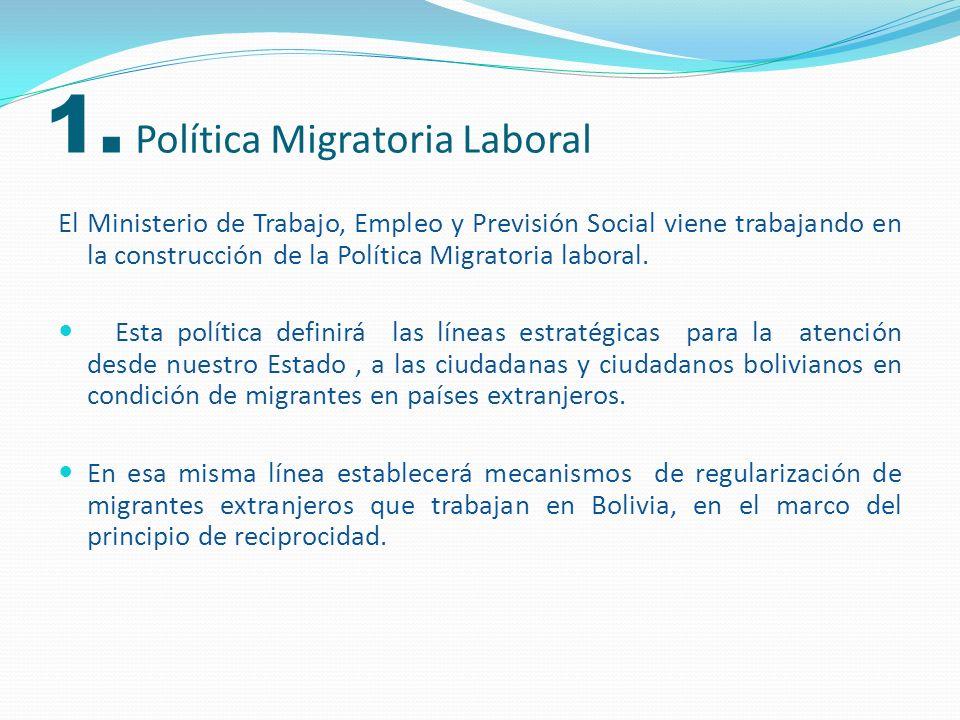 1. Política Migratoria Laboral El Ministerio de Trabajo, Empleo y Previsión Social viene trabajando en la construcción de la Política Migratoria labor
