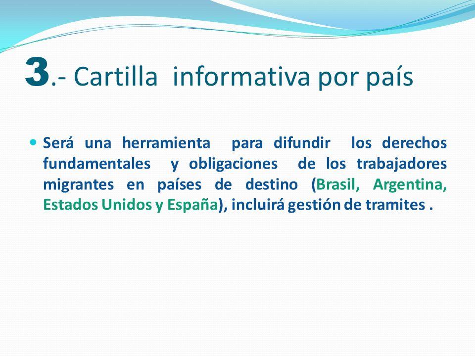 Será una herramienta para difundir los derechos fundamentales y obligaciones de los trabajadores migrantes en países de destino (Brasil, Argentina, Es