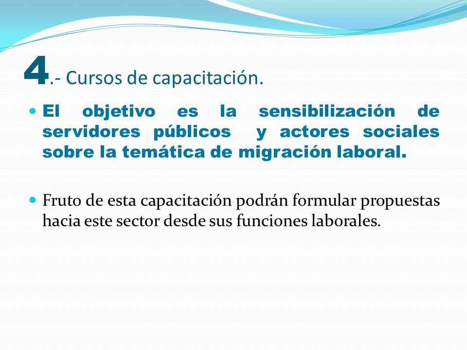 El objetivo es la sensibilización de servidores públicos y actores sociales sobre la temática de migración laboral. Fruto de esta capacitación podrán