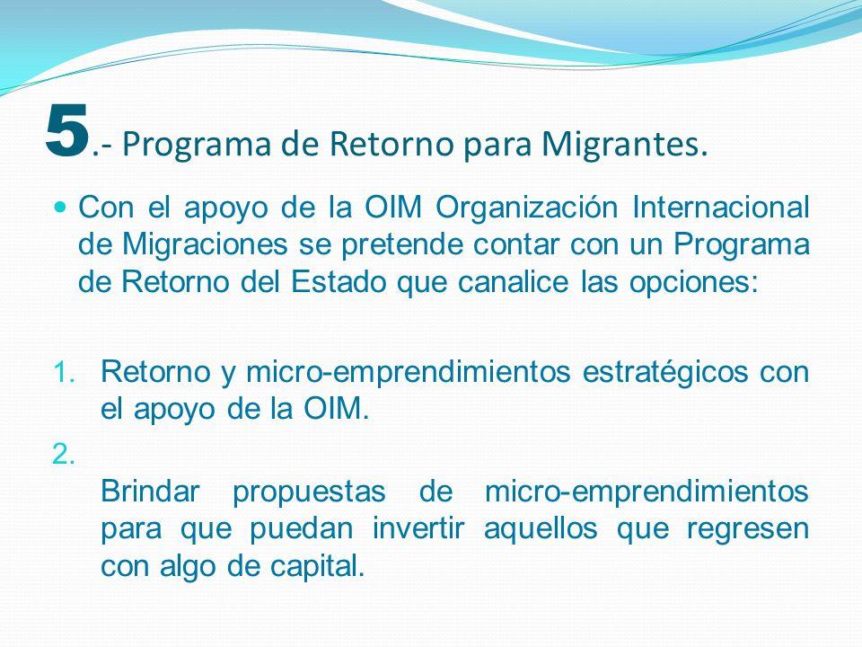 Con el apoyo de la OIM Organización Internacional de Migraciones se pretende contar con un Programa de Retorno del Estado que canalice las opciones: 1