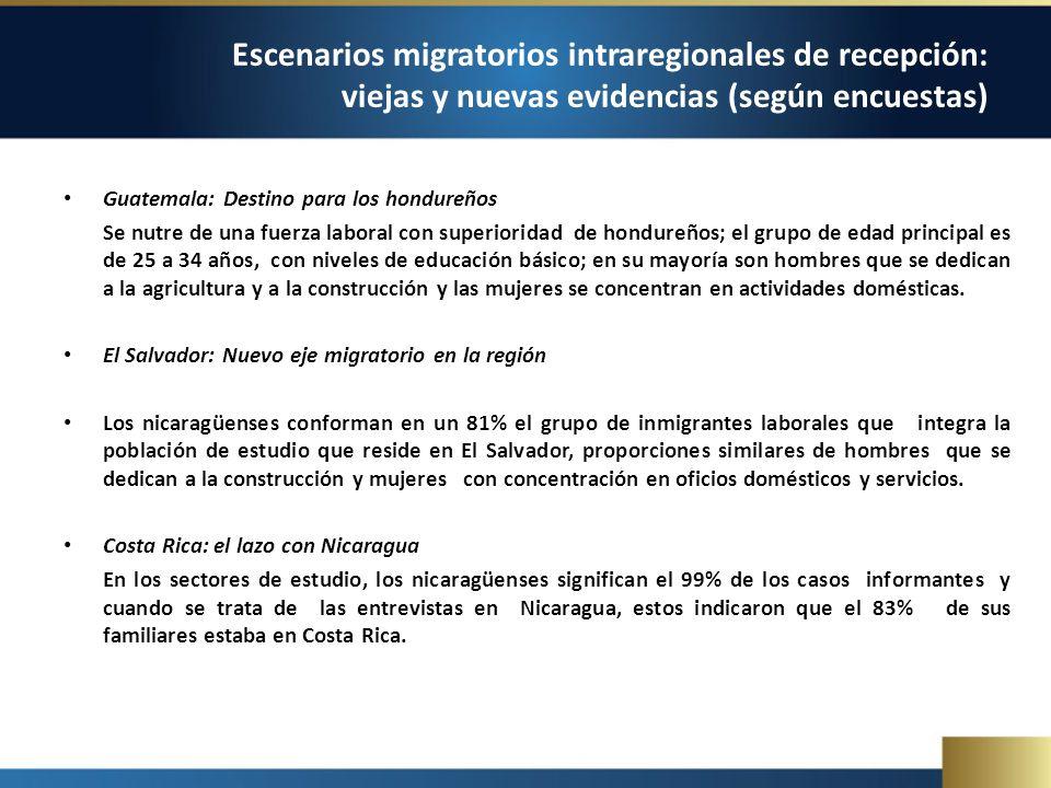 Guatemala: Destino para los hondureños Se nutre de una fuerza laboral con superioridad de hondureños; el grupo de edad principal es de 25 a 34 años, con niveles de educación básico; en su mayoría son hombres que se dedican a la agricultura y a la construcción y las mujeres se concentran en actividades domésticas.