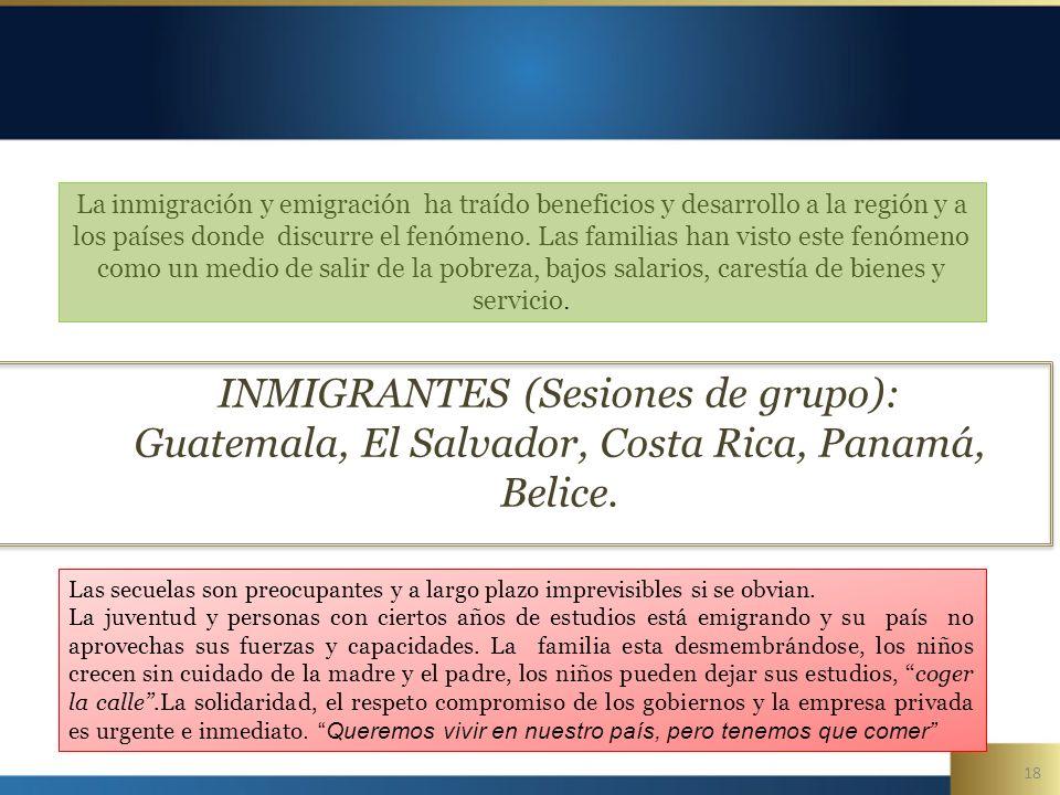18 INMIGRANTES (Sesiones de grupo): Guatemala, El Salvador, Costa Rica, Panamá, Belice.