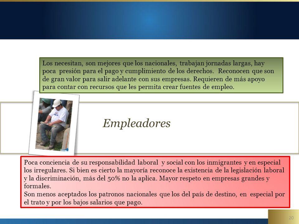 20 Empleadores Poca conciencia de su responsabilidad laboral y social con los inmigrantes y en especial los irregulares.