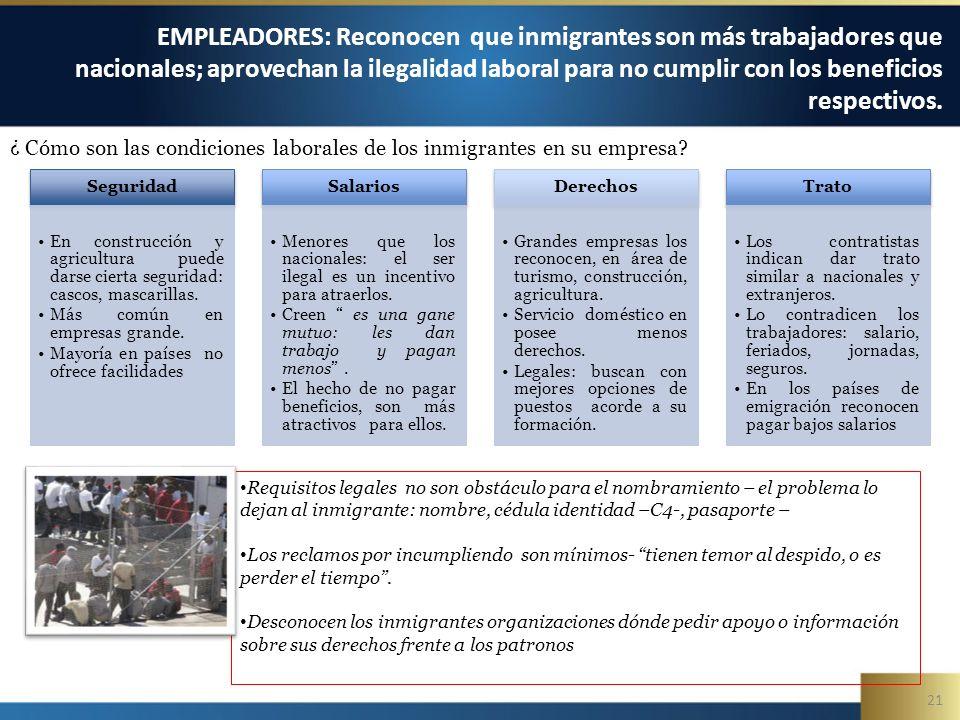 21 EMPLEADORES: Reconocen que inmigrantes son más trabajadores que nacionales; aprovechan la ilegalidad laboral para no cumplir con los beneficios respectivos.