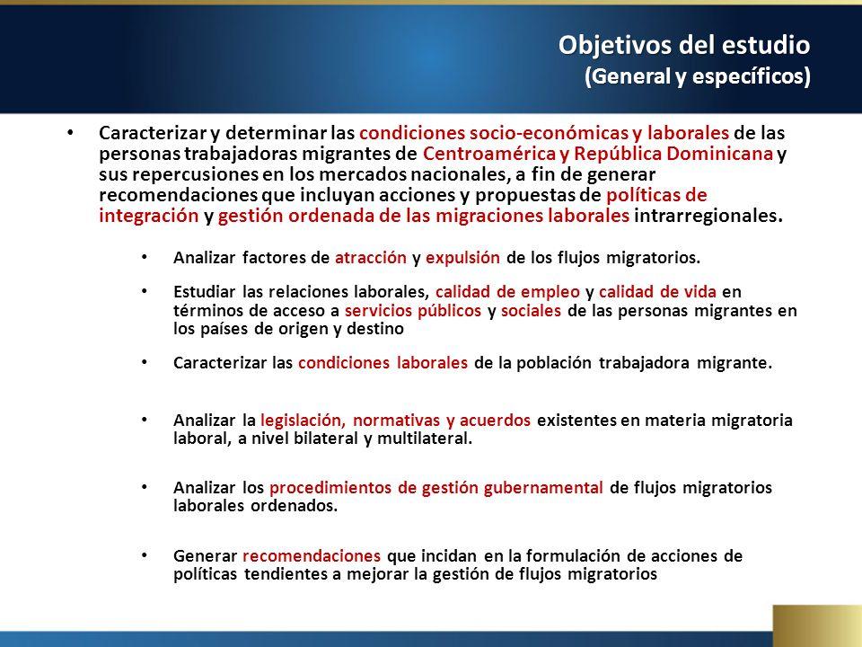Objetivos del estudio (General y específicos) Caracterizar y determinar las condiciones socio-económicas y laborales de las personas trabajadoras migr