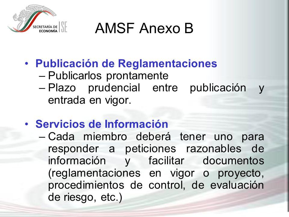 AMSF Anexo B Publicación de Reglamentaciones –Publicarlos prontamente –Plazo prudencial entre publicación y entrada en vigor. Servicios de Información