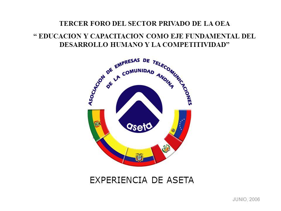 1 JUNIO, 2006 EXPERIENCIA DE ASETA TERCER FORO DEL SECTOR PRIVADO DE LA OEA EDUCACION Y CAPACITACION COMO EJE FUNDAMENTAL DEL DESARROLLO HUMANO Y LA COMPETITIVIDAD
