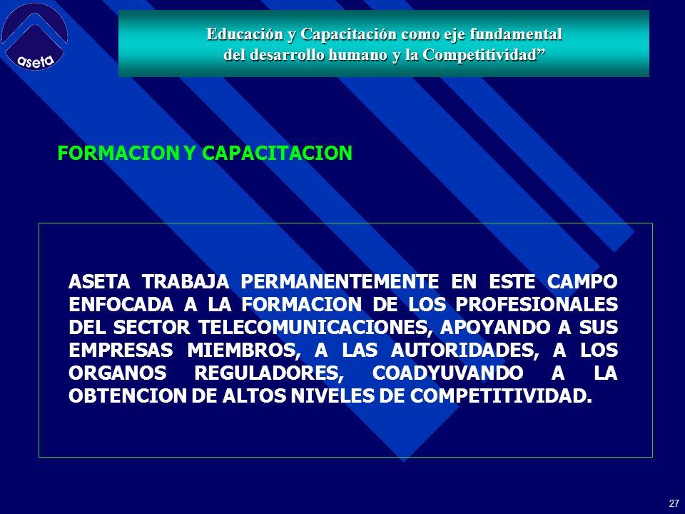 26 Educación y Capacitación como eje fundamental del desarrollo humano y la Competitividad 3.- FORMACION Y CAPACITACION