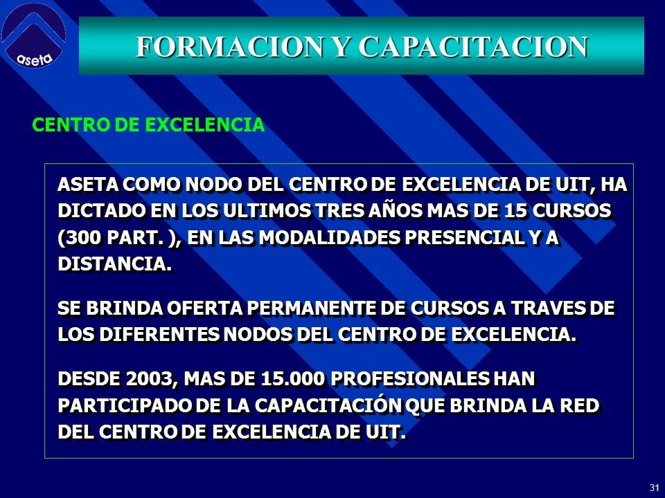 30 LA UNIÓN INTERNACIONAL DE TELECOMUNICACIONES – UIT HA CONFORMADO UNA RED MUNDIAL (20 NODOS, REGIÓN AMÉRICAS) CON CENTROS ESPECIALIZADOS EN BRINDAR CAPACITACIÓN PARA EL SECTOR DE TELECOMUNICACIONES EL FIN DE ESTA RED, (CENTROS DE EXCELENCIA) ES EL DE DESARROLLAR Y REFORZAR LA CAPACIDAD DE GENERAR COMPETENCIAS, CONOCIMIENTOS Y APROVECHAR LA EXPERIENCIA DE LOS PAÍSES PARA SATISFACER LAS NECESIDADES PRIORITARIAS EN MATERIA DE CAPACITACIÓN Y DESARROLLO DEL TALENTO HUMANO DEL MÁS ALTO NIVEL DEL SECTOR DE TELECOMUNICACIONES ALREDEDOR DEL MUNDO.