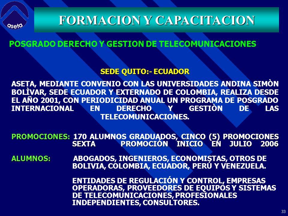 32 FORMACION Y CAPACITACION PORTAFOLIO DE CURSOS ESPECIFICOS DESARROLLO PERMANENTE CONCEPTOS BASICOS DE TELECOMUNICACIONES ESPECTRO RADIOELECTRICO COMUNICACIONES INALAMBRICAS SEÑALIZACION SS7 GESTION DE REDES REGULACION FIBRA OPTICA SISTEMAS SATELITALES PLANTA EXTERNA TENDENCIAS TECNOLOGICAS REDES DE PROXIMA GENERACION INTERNET SERVICIOS SOBRE IP PROPIEDAD INTELECTUAL INTERCONEXION COMPETENCIA USUARIOS COSTOS Y TARIFAS FINANZAS APLICADAS A LAS TELECOMUNICACIONES COMERCIO ELECTRONICO CUSTOMER RELATIONSHIP MANAGEMENT -CRM- PENSAMIENTO SISTEMICO PARA GESTION EMPRESARIAL TELEFONIA IP TENDENCIAS DEL NEGOCIO DE LAS TELECOMUNICACIONES