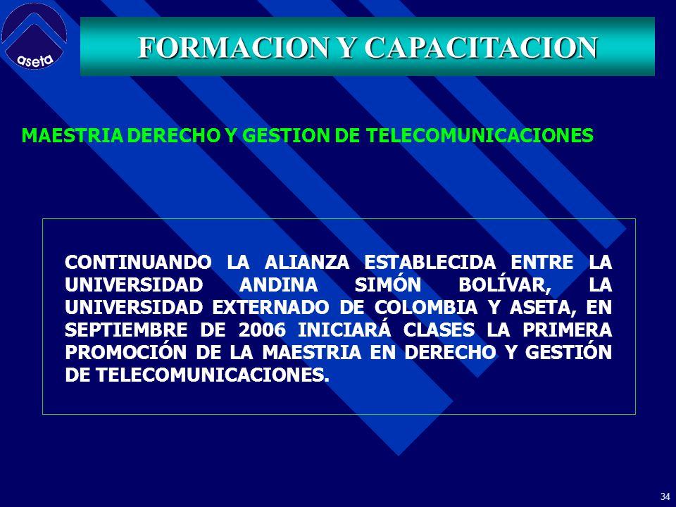 33 FORMACION Y CAPACITACION POSGRADO DERECHO Y GESTION DE TELECOMUNICACIONES SEDE QUITO:- ECUADOR ASETA, MEDIANTE CONVENIO CON LAS UNIVERSIDADES ANDINA SIMÒN BOLÌVAR, SEDE ECUADOR Y EXTERNADO DE COLOMBIA, REALIZA DESDE EL AÑO 2001, CON PERIODICIDAD ANUAL UN PROGRAMA DE POSGRADO INTERNACIONAL EN DERECHO Y GESTIÒN DE LAS TELECOMUNICACIONES.