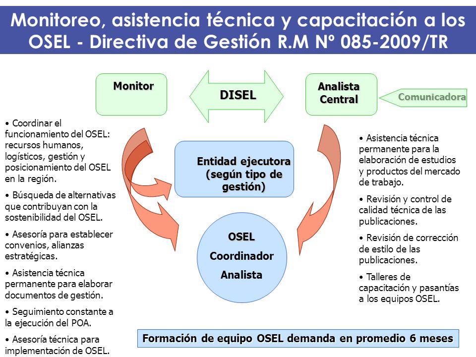 Monitoreo, asistencia técnica y capacitación a los OSEL - Directiva de Gestión R.M Nº 085-2009/TR OSEL Coordinador Analista Analista Central Entidad e