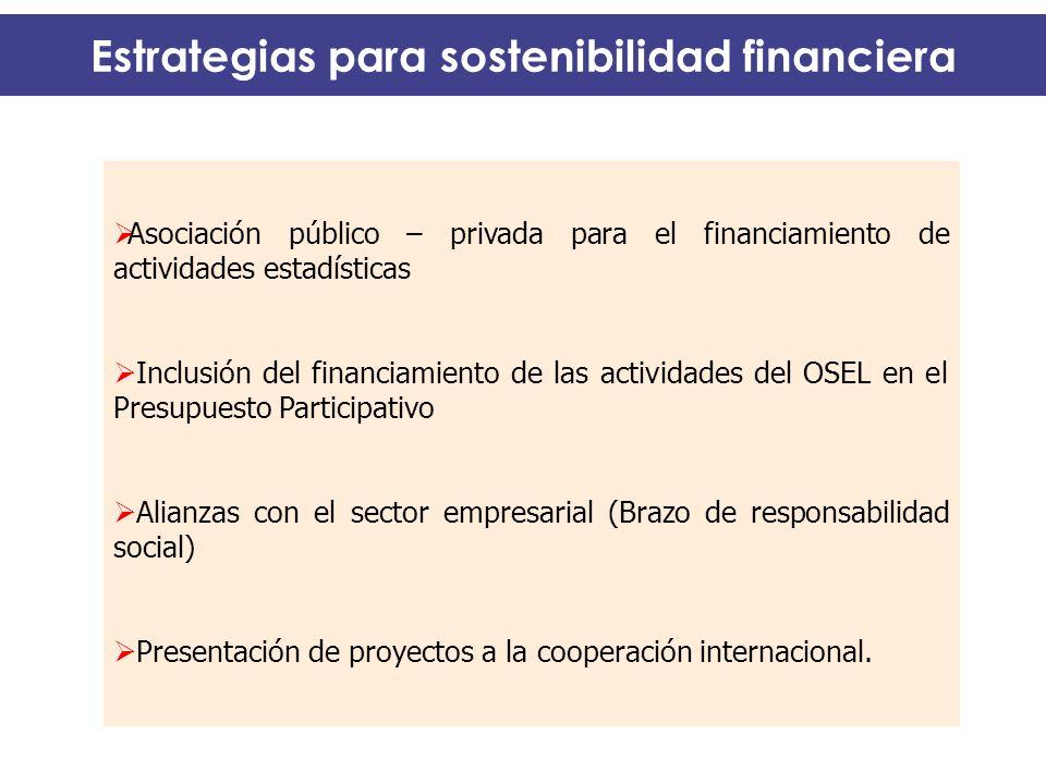 Estrategias para sostenibilidad financiera Asociación público – privada para el financiamiento de actividades estadísticas Inclusión del financiamient