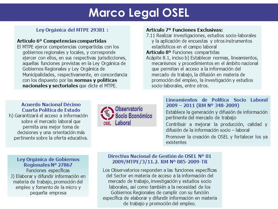 Marco Legal OSEL OSEL Acuerdo Nacional Décimo Cuarta Política de Estado h) Garantizará el acceso a información sobre el mercado laboral que permita un