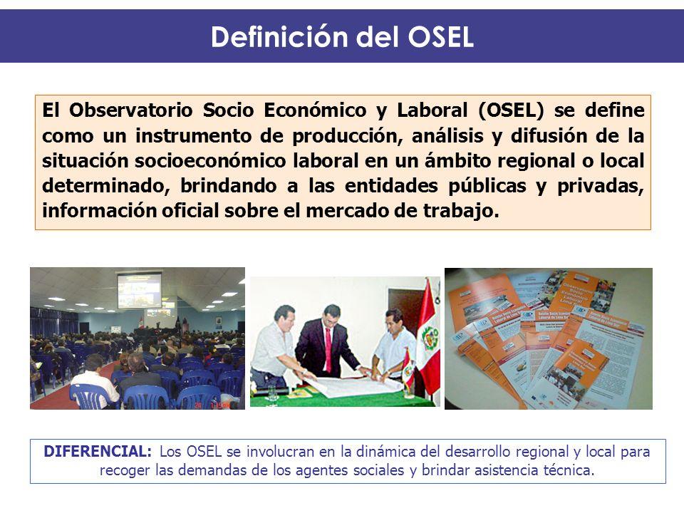 El Observatorio Socio Económico y Laboral (OSEL) se define como un instrumento de producción, análisis y difusión de la situación socioeconómico labor