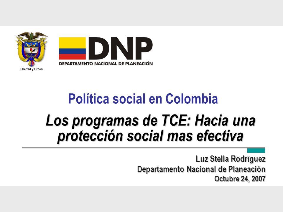 Política social en Colombia Luz Stella Rodríguez Departamento Nacional de Planeación Octubre 24, 2007 Los programas de TCE: Hacia una protección socia