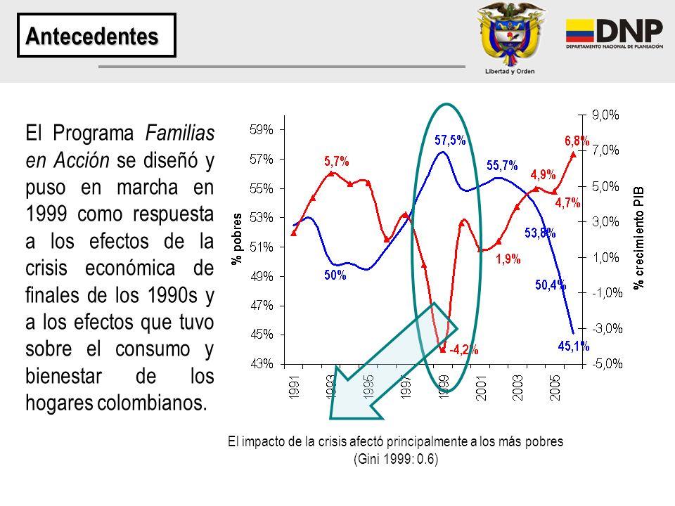 El Programa Familias en Acción se diseñó y puso en marcha en 1999 como respuesta a los efectos de la crisis económica de finales de los 1990s y a los