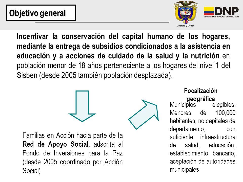 Incentivar la conservación del capital humano de los hogares, mediante la entrega de subsidios condicionados a la asistencia en educación y a acciones