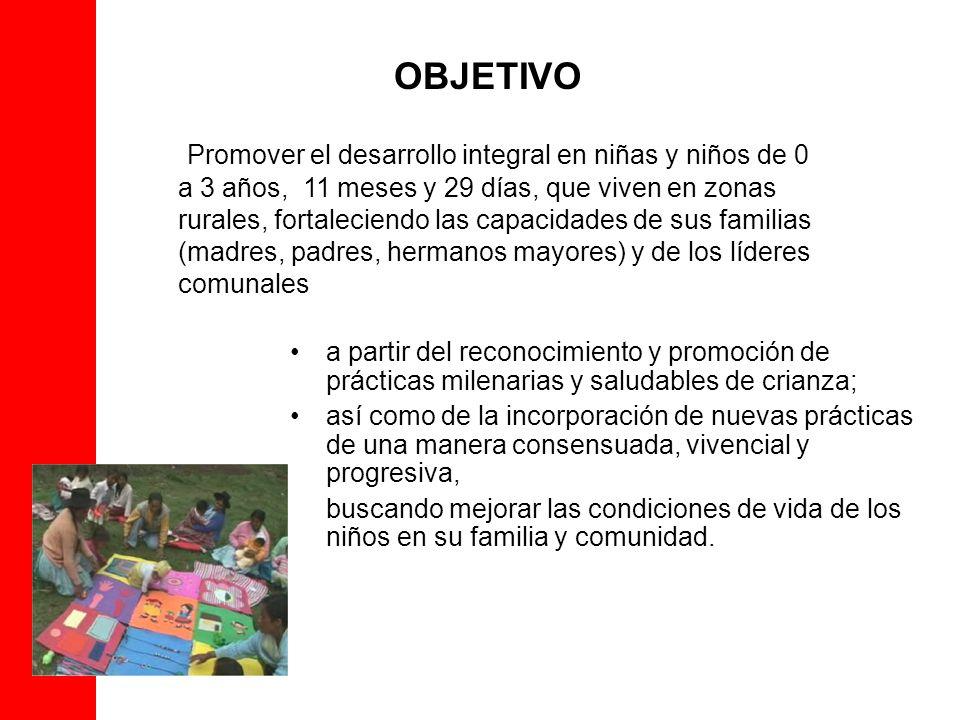 OBJETIVO Promover el desarrollo integral en niñas y niños de 0 a 3 años, 11 meses y 29 días, que viven en zonas rurales, fortaleciendo las capacidades