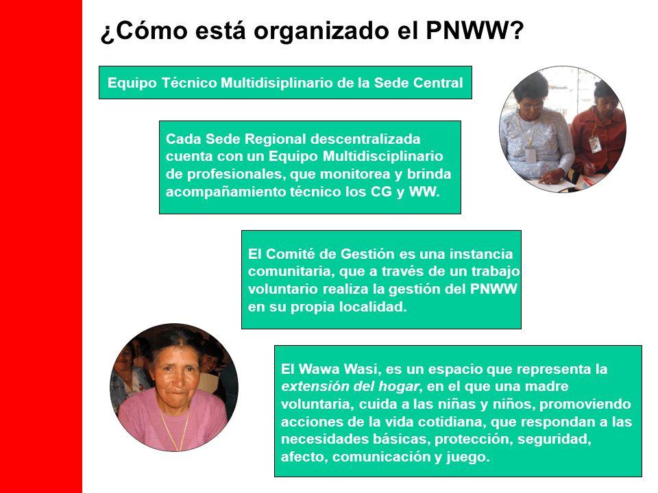 ¿Cómo está organizado el PNWW? Cada Sede Regional descentralizada cuenta con un Equipo Multidisciplinario de profesionales, que monitorea y brinda aco