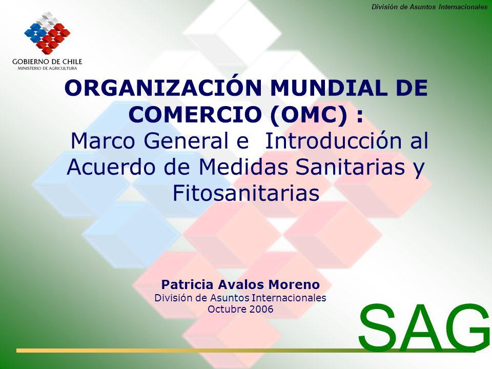 División de Asuntos Internacionales ORGANIZACIÓN MUNDIAL DE COMERCIO (OMC) : Marco General e Introducción al Acuerdo de Medidas Sanitarias y Fitosanit