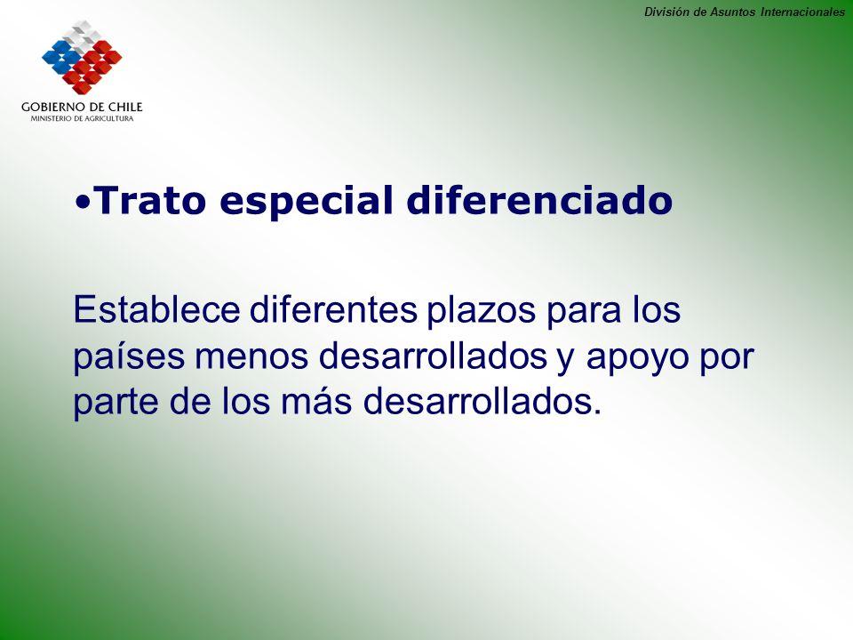 División de Asuntos Internacionales Trato especial diferenciado Establece diferentes plazos para los países menos desarrollados y apoyo por parte de l