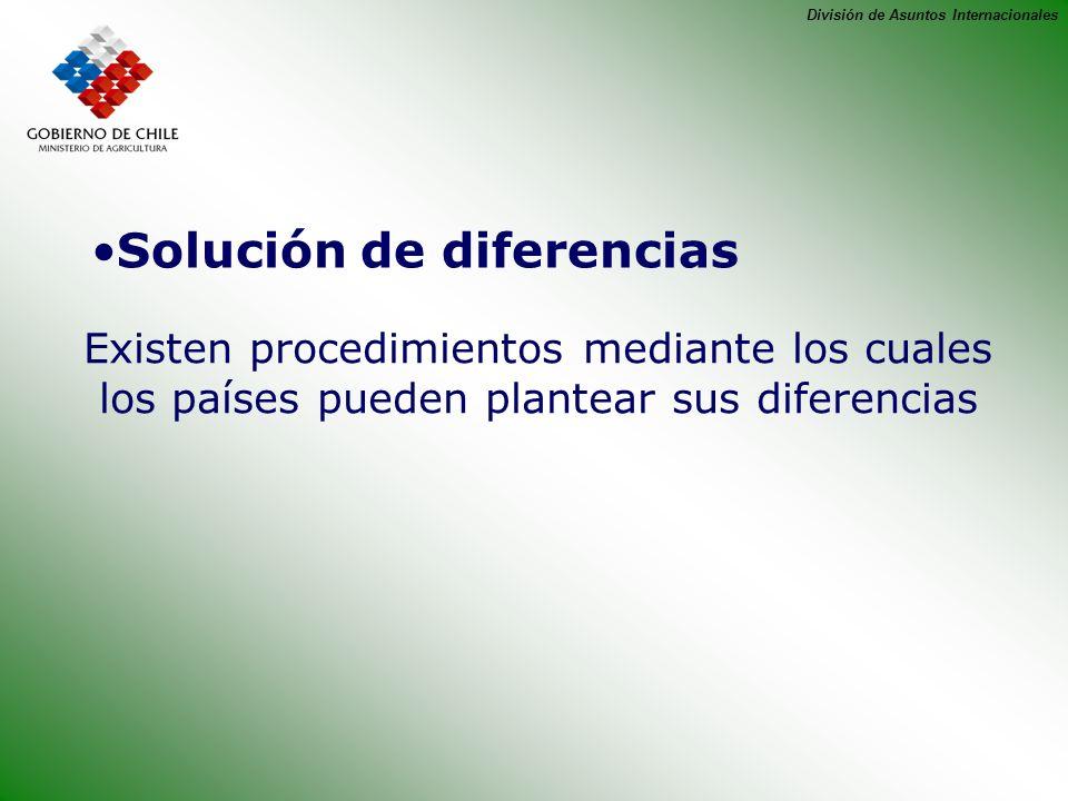 División de Asuntos Internacionales Solución de diferencias Existen procedimientos mediante los cuales los países pueden plantear sus diferencias