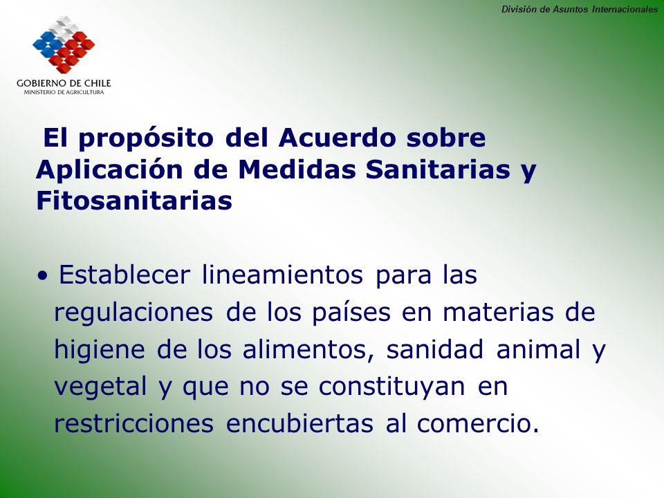 División de Asuntos Internacionales El propósito del Acuerdo sobre Aplicación de Medidas Sanitarias y Fitosanitarias Establecer lineamientos para las