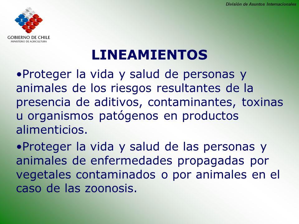 División de Asuntos Internacionales LINEAMIENTOS Proteger la vida y salud de personas y animales de los riesgos resultantes de la presencia de aditivo
