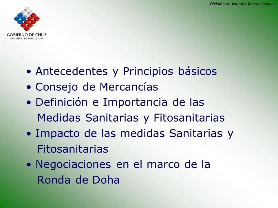 División de Asuntos Internacionales Antecedentes y Principios básicos Consejo de Mercancías Definición e Importancia de las Medidas Sanitarias y Fitos