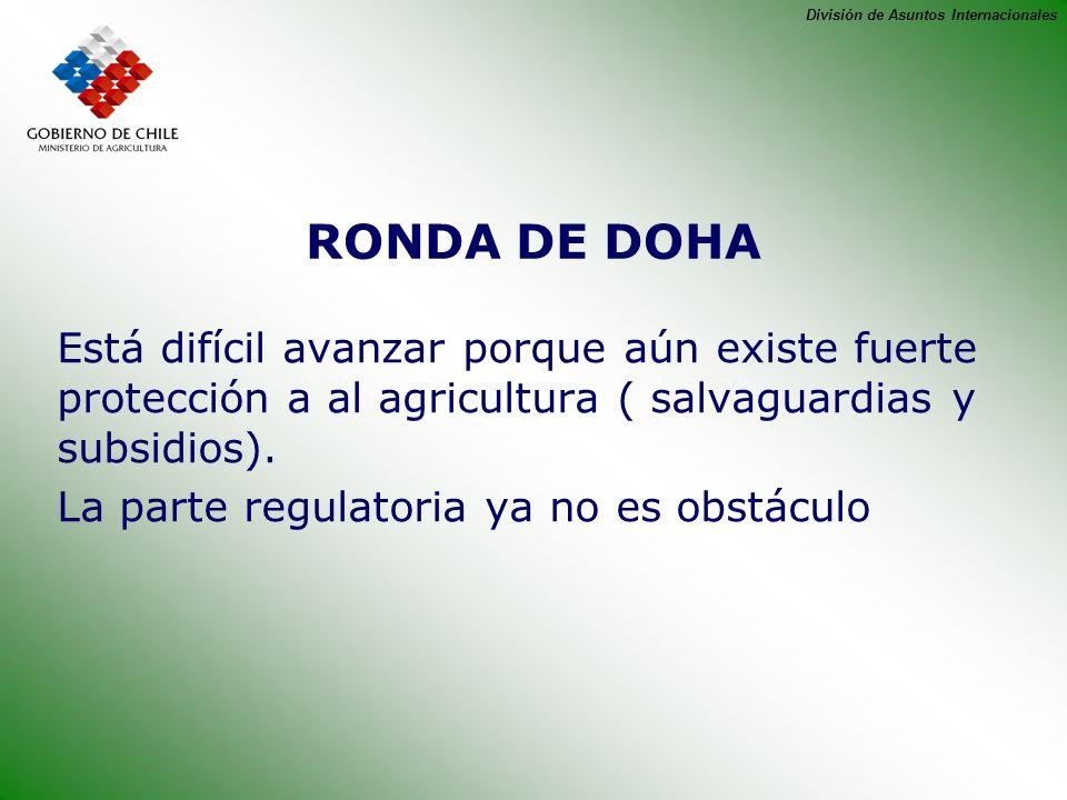 División de Asuntos Internacionales RONDA DE DOHA Está difícil avanzar porque aún existe fuerte protección a al agricultura ( salvaguardias y subsidio