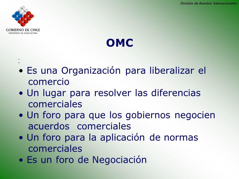 División de Asuntos Internacionales La OMC nace en 1995 Sus orígenes son el GATT 1948 ( Acuerdo General sobre Aranceles Aduaneros y Comercio ) Ronda de Uruguay 1986-1994,que incorpora los temas de Agricultura y Servicios.