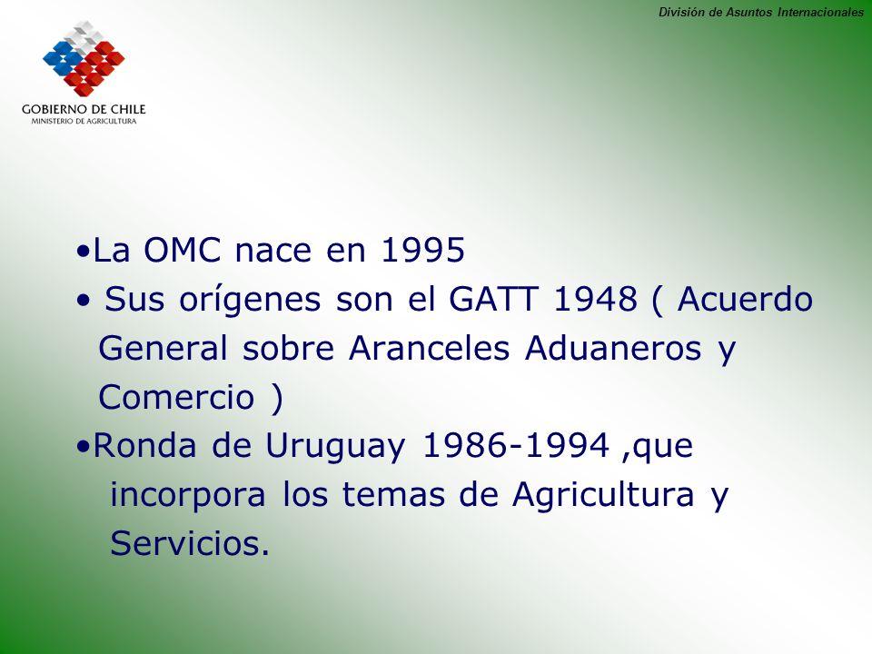 División de Asuntos Internacionales La OMC nace en 1995 Sus orígenes son el GATT 1948 ( Acuerdo General sobre Aranceles Aduaneros y Comercio ) Ronda d