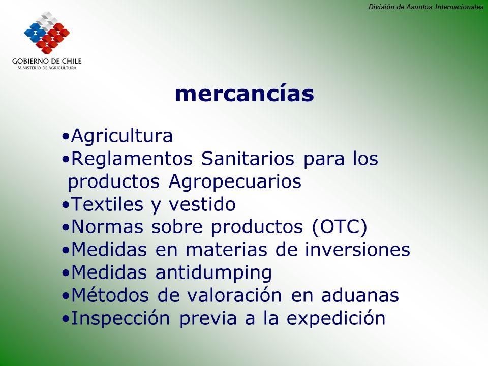 División de Asuntos Internacionales mercancías Agricultura Reglamentos Sanitarios para los productos Agropecuarios Textiles y vestido Normas sobre pro