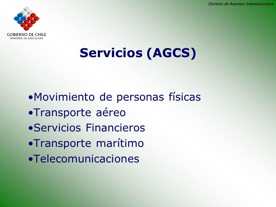 División de Asuntos Internacionales Servicios (AGCS) Movimiento de personas físicas Transporte aéreo Servicios Financieros Transporte marítimo Telecom