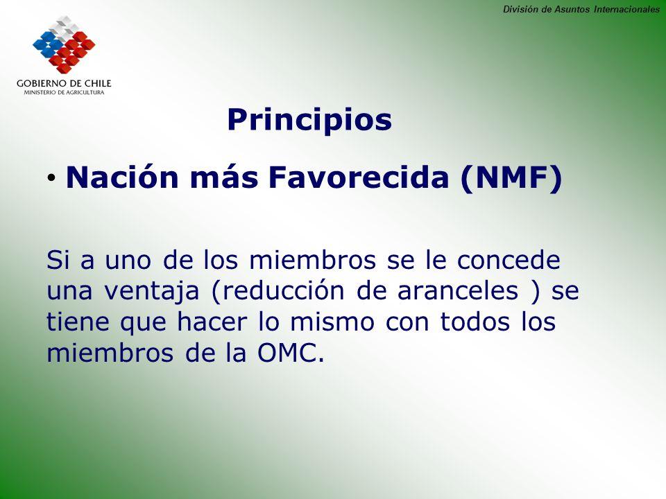 División de Asuntos Internacionales Principios Nación más Favorecida (NMF) Si a uno de los miembros se le concede una ventaja (reducción de aranceles