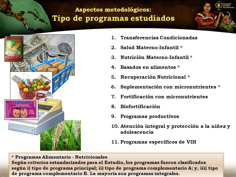 Aspectos metodológicos: Tipo de programas estudiados 1.Transferencias Condicionadas 2.Salud Materno-Infantil * 3.Nutrición Materno-Infantil * 4.Basados en alimentos * 5.Recuperación Nutricional * 6.Suplementación con micronutrientes * 7.Fortificación con micronutrientes 8.Biofortificación 9.Programas productivos 10.Atención integral y protección a la niñez y adolescencia 11.Programas específicos de VIH * Programas Alimentario - Nutricionales Según criterios estandarizados para el Estudio, los programas fueron clasificados según i) tipo de programa principal; ii) tipo de programa complementario A; y, iii) tipo de programa complementario B.