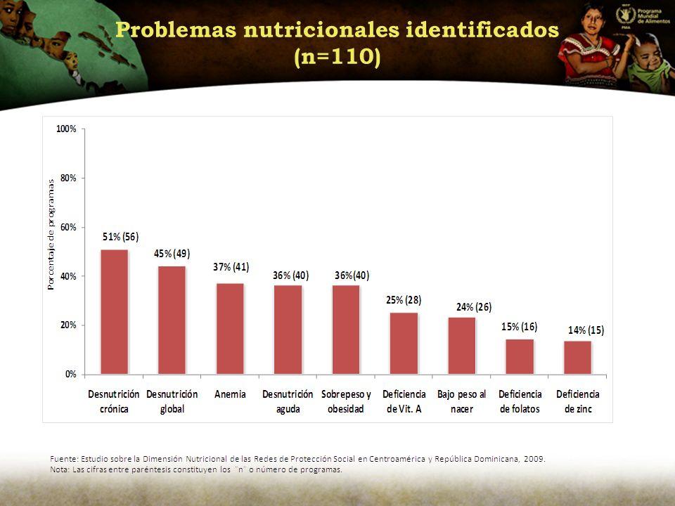 Problemas nutricionales identificados (n=110)