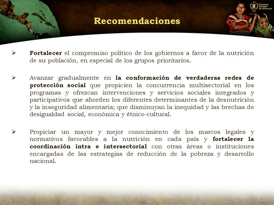 Recomendaciones Fortalecer el compromiso político de los gobiernos a favor de la nutrición de su población, en especial de los grupos prioritarios.