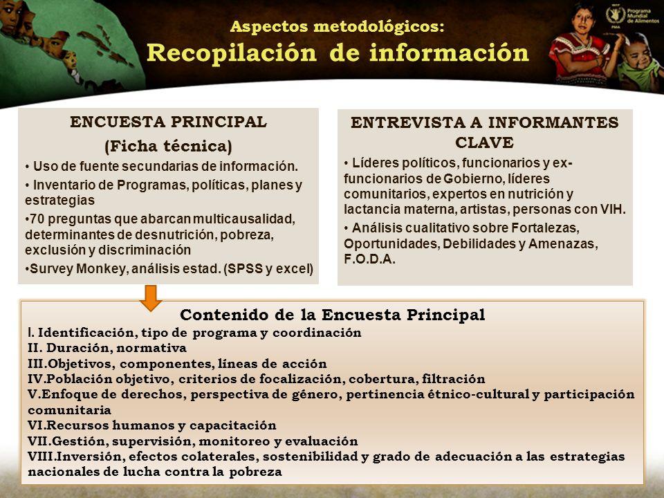 Aspectos metodológicos: Recopilación de información ENCUESTA PRINCIPAL (Ficha técnica) Uso de fuente secundarias de información.