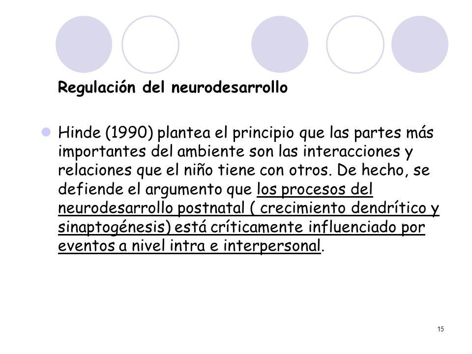 15 Regulación del neurodesarrollo Hinde (1990) plantea el principio que las partes más importantes del ambiente son las interacciones y relaciones que