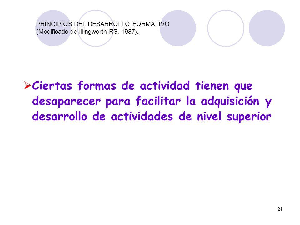 24 PRINCIPIOS DEL DESARROLLO FORMATIVO (Modificado de Illingworth RS, 1987 ): Ciertas formas de actividad tienen que desaparecer para facilitar la adq