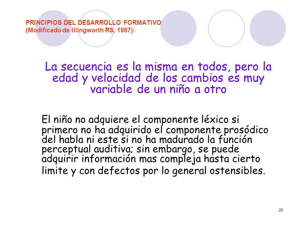 26 PRINCIPIOS DEL DESARROLLO FORMATIVO (Modificado de Illingworth RS, 1987): La secuencia es la misma en todos, pero la edad y velocidad de los cambio
