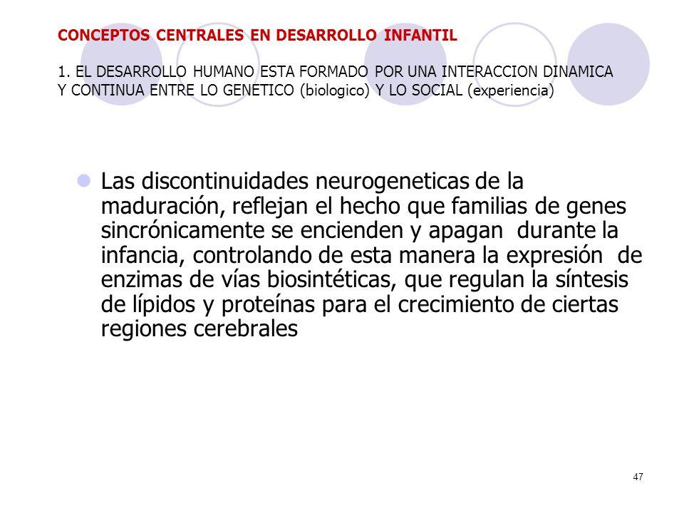 47 Las discontinuidades neurogeneticas de la maduración, reflejan el hecho que familias de genes sincrónicamente se encienden y apagan durante la infa