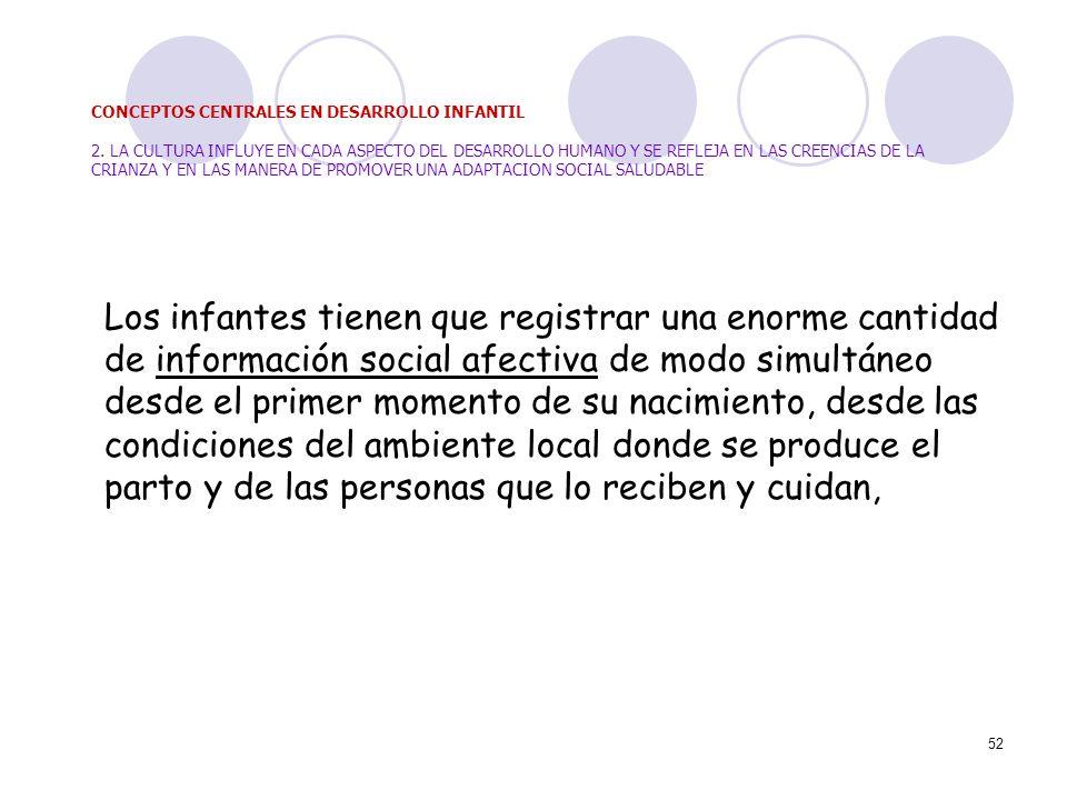 52 Los infantes tienen que registrar una enorme cantidad de información social afectiva de modo simultáneo desde el primer momento de su nacimiento, d