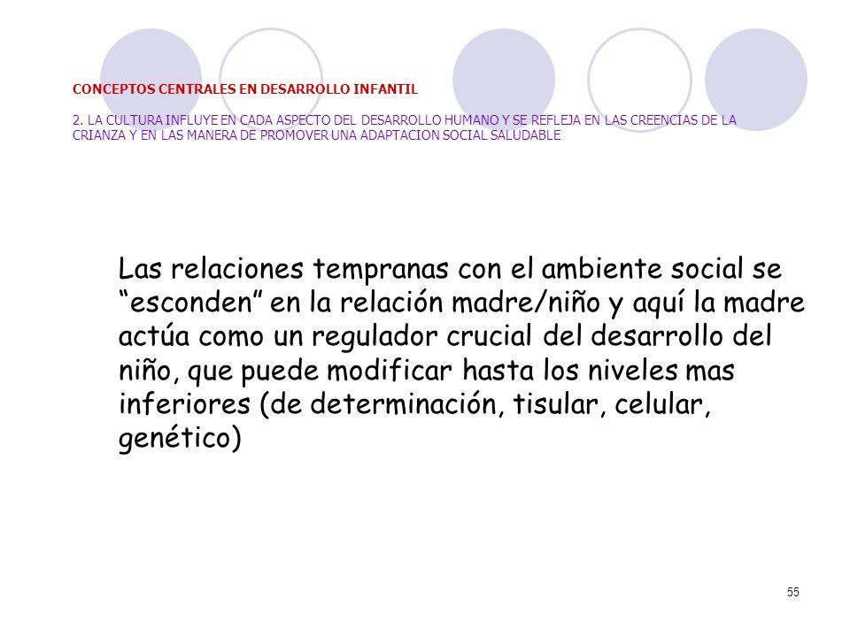 55 Las relaciones tempranas con el ambiente social se esconden en la relación madre/niño y aquí la madre actúa como un regulador crucial del desarroll